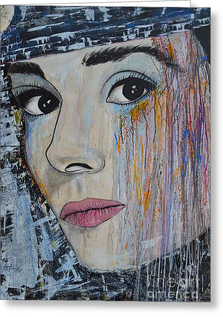 Ismeta Greeting Cards - Audrey Hepburn - Abstract1 Greeting Card by Ismeta Gruenwald