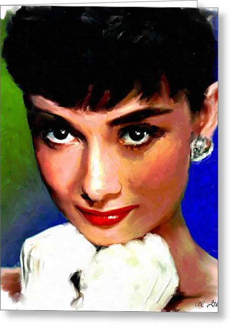 Allen Glass Greeting Cards - Audrey Hepburn Greeting Card by Allen Glass