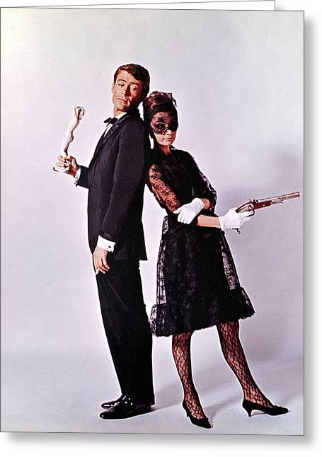 Little Black Dress Greeting Cards - Audrey Hepburn and Peter OToole Greeting Card by Nomad Art And  Design