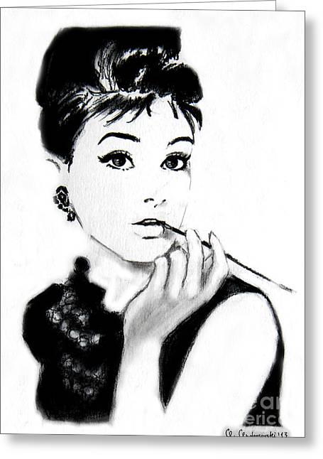 Audrey Hepburn Greeting Card by Anna Androsovski