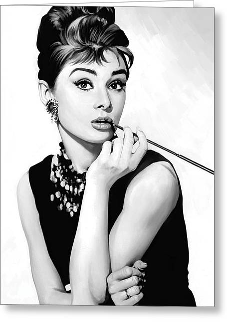 Celebrity Mixed Media Greeting Cards - Audrey Hepburn Artwork Greeting Card by Sheraz A
