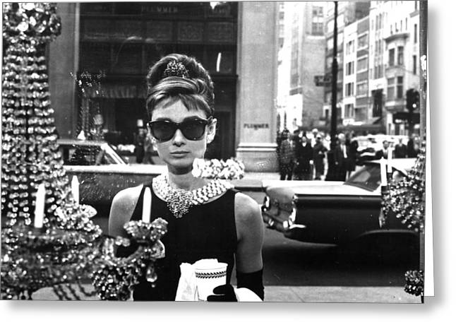 Black Dress Greeting Cards - Audrey Hepburn Breakfast at Tiffanys Greeting Card by Nomad Art And  Design