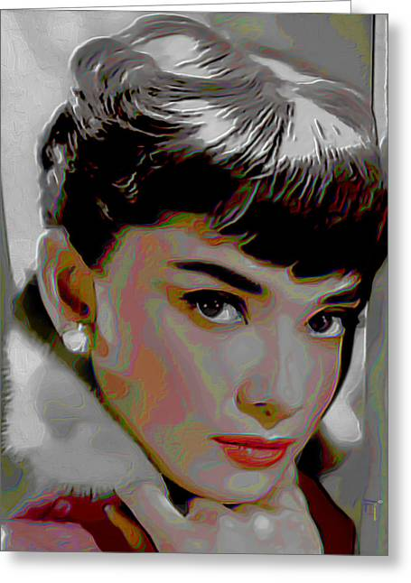 Icons Prints On Canvas Greeting Cards - Audrey Hepburn Greeting Card by  Fli Art