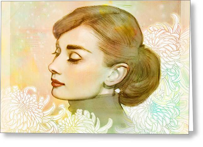 Fashionista Greeting Cards - Audrey Hepburn Greeting Card by Catherine Noel