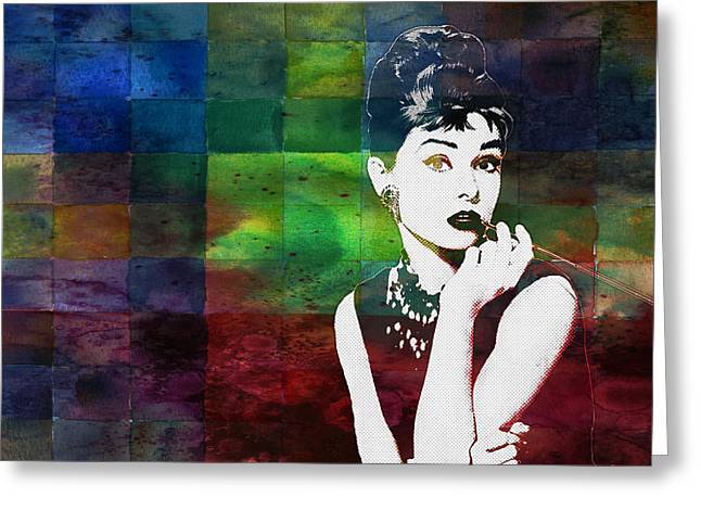 Acting Paintings Greeting Cards - Audrey Hepburn Greeting Card by Celestial Images