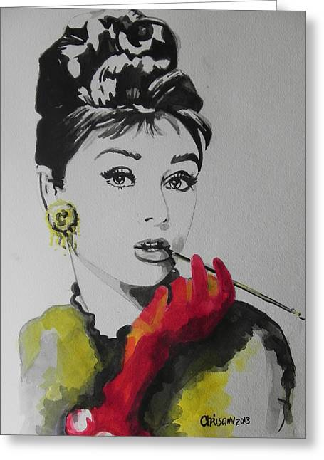 Creative People Greeting Cards - Audrey Hepburn Greeting Card by Chrisann Ellis