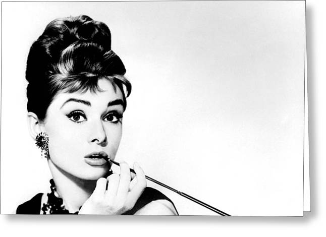 Celeb Greeting Cards - Audrey Hepburn Greeting Card by Csongor Licskai