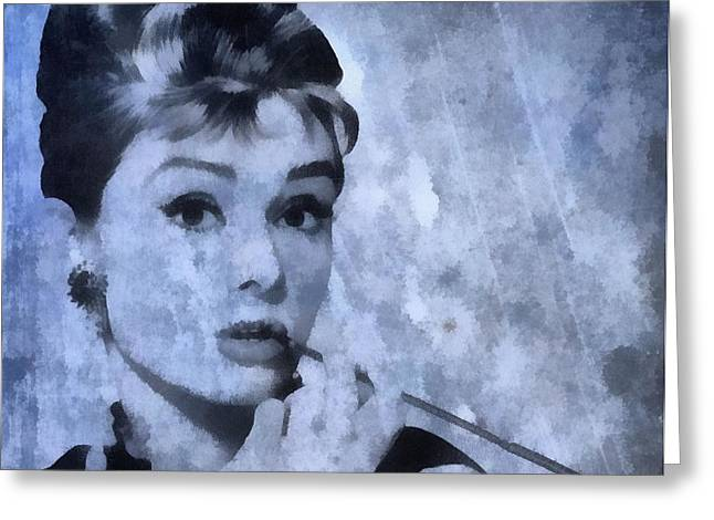 Fame Mixed Media Greeting Cards - Audrey Hepburn Greeting Card by Dan Sproul
