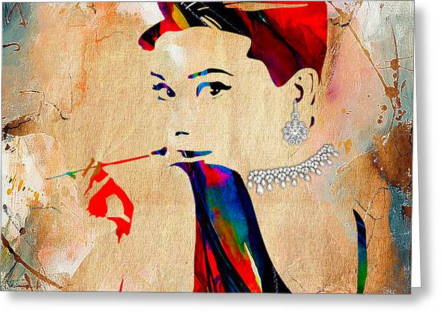 Hepburn Greeting Cards - Audrey Hepburn Duvet Cover Greeting Card by Marvin Blaine