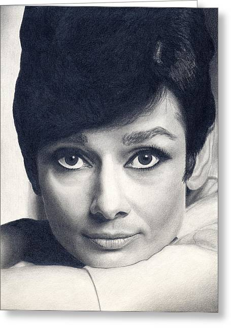 Famous Person Drawings Greeting Cards - Audrey Hepburn Greeting Card by Erin Mathis