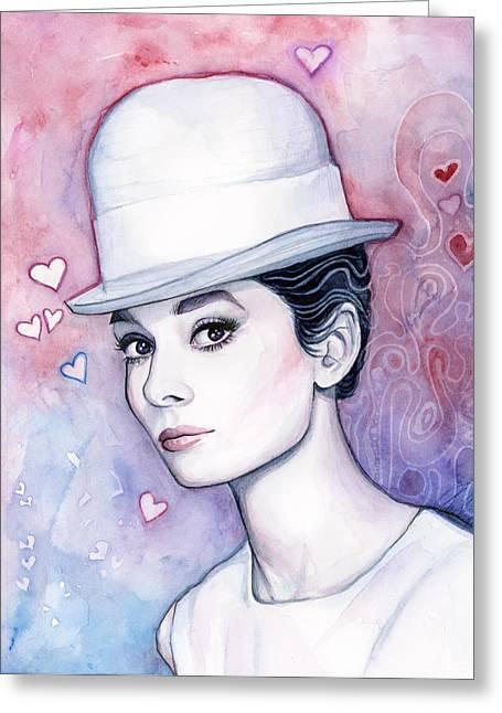 Fashion Illustration Greeting Cards - Audrey Hepburn Fashion Watercolor Greeting Card by Olga Shvartsur