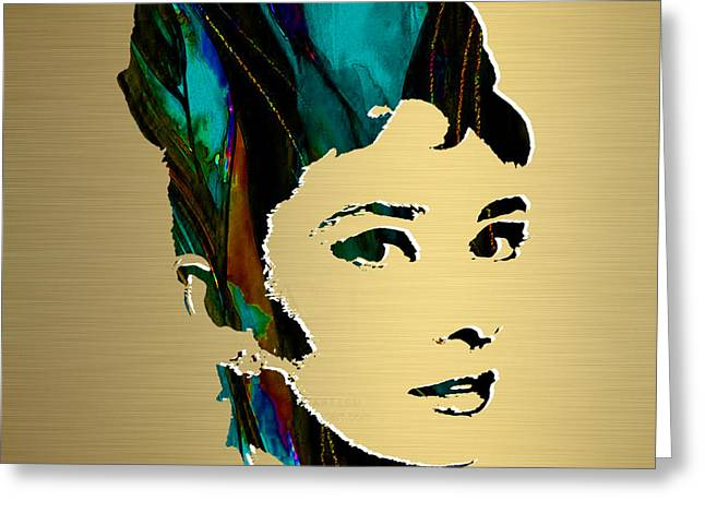 Gold Art Greeting Cards - Audrey Hepburn Gold Series Greeting Card by Marvin Blaine