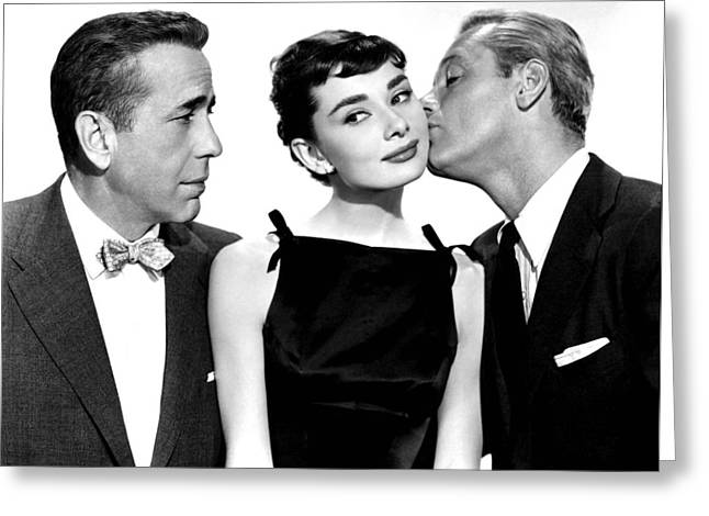 1950s Portraits Greeting Cards - Audrey Hepburn Humphrey Bogart and William Holden Greeting Card by Nomad Art And  Design