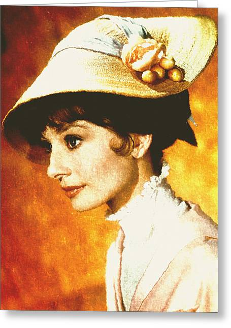Traditional Media Greeting Cards - Audrey Hepburn - Impressionism Greeting Card by Georgiana Romanovna