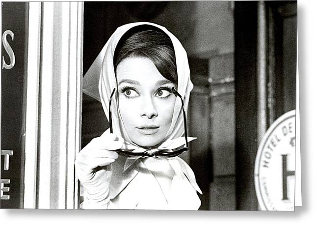 Publicity Shot Photographs Greeting Cards - Audrey Hepburn in Charade Greeting Card by Nomad Art And  Design