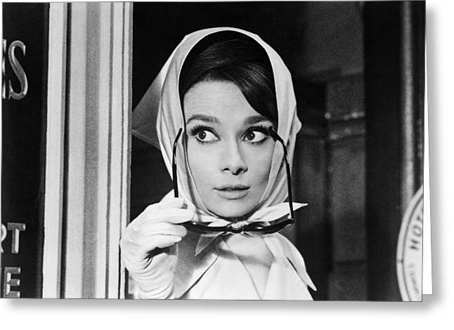 1960 Greeting Cards - Audrey Hepburn in Charade  Greeting Card by Silver Screen