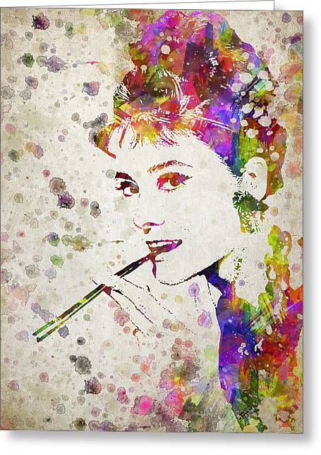 Audrey Hepburn In Color Greeting Card by Aged Pixel