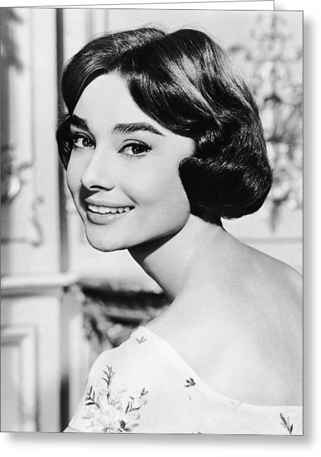 Human Being Photographs Greeting Cards - Audrey Hepburn in Love in the Afternoon Greeting Card by Nomad Art And  Design