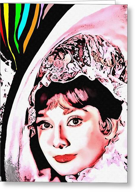 First Lady Mixed Media Greeting Cards - Audrey Hepburn in My Fair Lady Greeting Card by Art Cinema Gallery