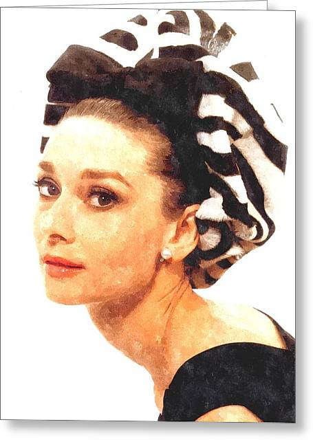 Actor Photographs Greeting Cards - Audrey Hepburn in Watercolor Greeting Card by Gianfranco Weiss