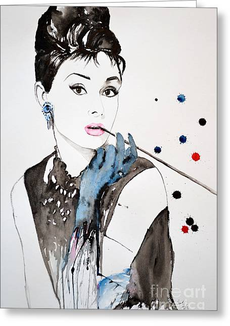 Gruenwald Greeting Cards - Audrey Hepburn Greeting Card by Ismeta Gruenwald