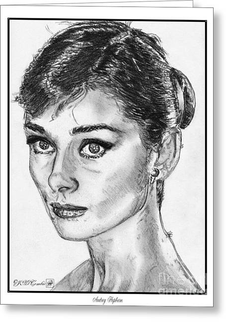Fame Drawings Greeting Cards - Audrey Hepburn Greeting Card by J McCombie