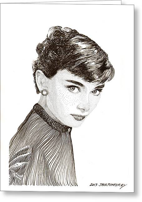 1953 Movies Greeting Cards - Audrey Hepburn Greeting Card by Jack Pumphrey