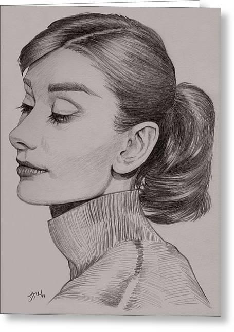 British Celebrities Drawings Greeting Cards - Audrey Hepburn Greeting Card by Jennifer Hotai