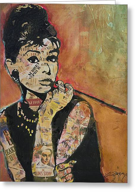 Cigarette Holder Greeting Cards - Audrey Hepburn  Greeting Card by Jenny Berry