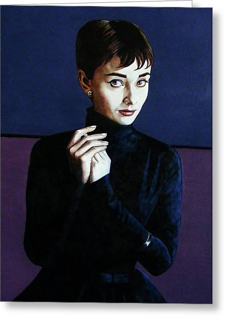 1950s Portraits Paintings Greeting Cards - Audrey Hepburn Greeting Card by Jo King