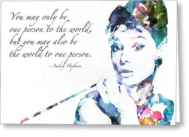 Audrey Hepburn Greeting Card by Megan Washington