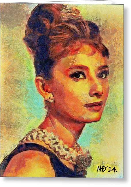 Lucent Dreaming Greeting Cards - Audrey Hepburn Greeting Card by Nikola Durdevic