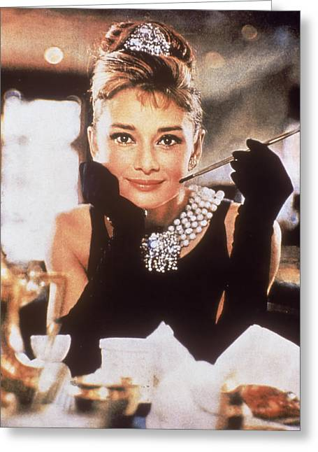 Cigarette Holder Greeting Cards - Audrey Hepburn Greeting Card by Nomad Art And  Design