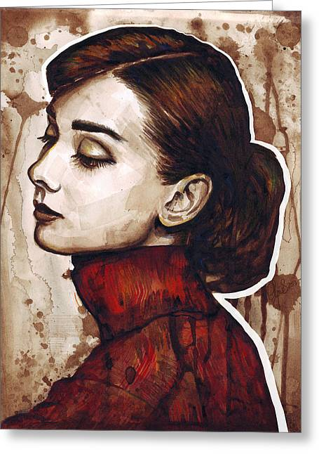 Brown Prints Greeting Cards - Audrey Hepburn Greeting Card by Olga Shvartsur