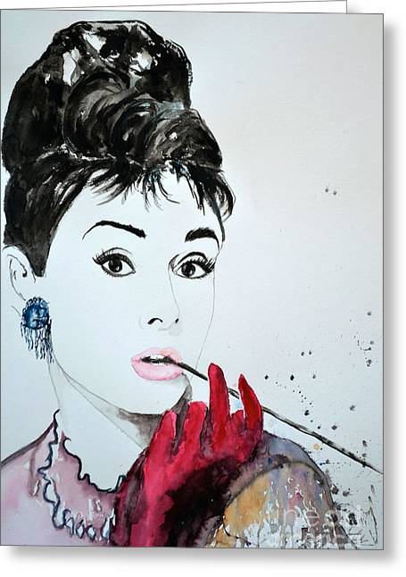 Ismeta Greeting Cards - Audrey Hepburn - Original Greeting Card by Ismeta Gruenwald