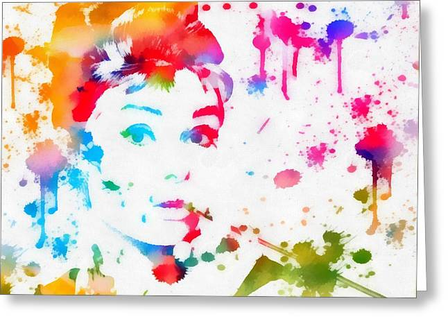 Fame Mixed Media Greeting Cards - Audrey Hepburn Paint Splatter Greeting Card by Dan Sproul