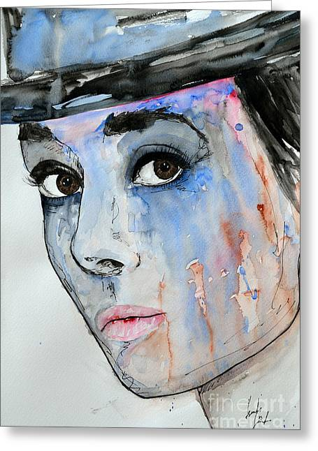 Gruenwald Greeting Cards - Audrey Hepburn - Painting Greeting Card by Ismeta Gruenwald