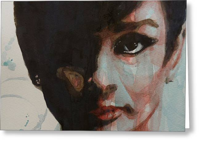 Film Watercolor Greeting Cards - Audrey Hepburn  Greeting Card by Paul Lovering