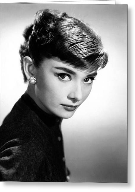 1950s Music Photographs Greeting Cards - Audrey Hepburn Portrait Greeting Card by Nomad Art And  Design