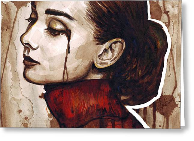 Audrey Hepburn Portrait Greeting Card by Olga Shvartsur