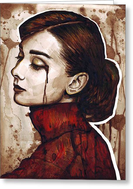 Sadness Greeting Cards - Audrey Hepburn Portrait Greeting Card by Olga Shvartsur