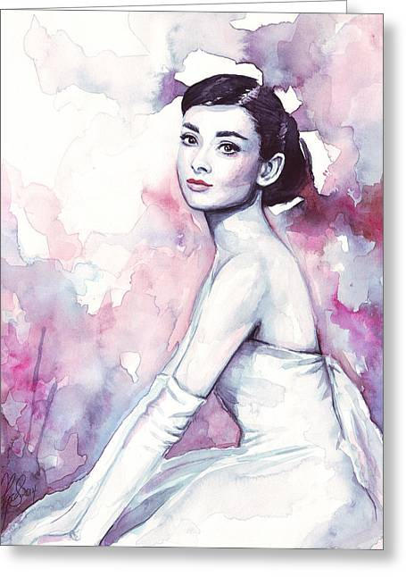 Fashions Greeting Cards - Audrey Hepburn Purple Watercolor Portrait Greeting Card by Olga Shvartsur