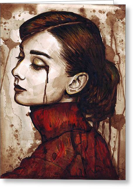 Sepia Mixed Media Greeting Cards - Audrey Hepburn - Quiet Sadness Greeting Card by Olga Shvartsur