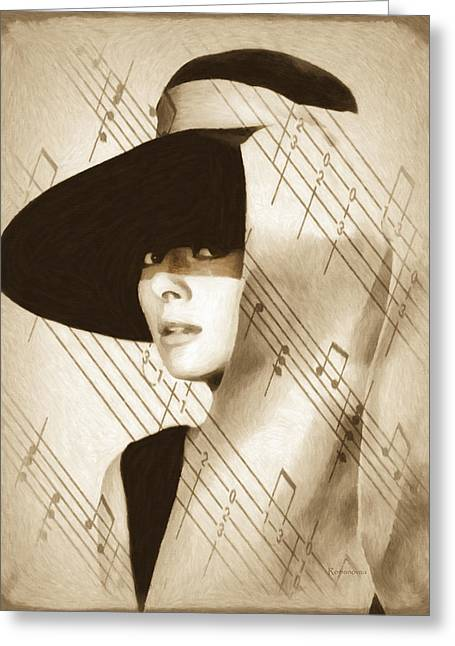 Audrey Hepburn Vintage Greeting Card by Georgiana Romanovna