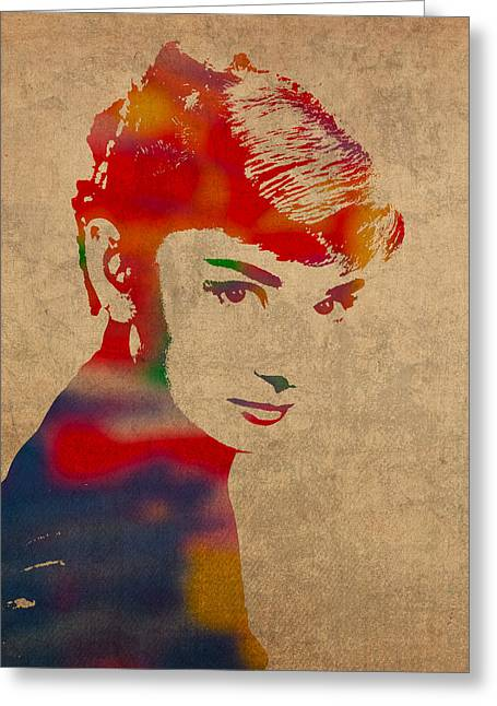 Audrey Hepburn Greeting Cards - Audrey Hepburn Watercolor Portrait on Worn Distressed Canvas Greeting Card by Design Turnpike