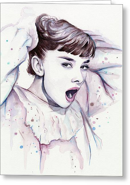 Emotive Greeting Cards - Audrey - Purple Scream Greeting Card by Olga Shvartsur