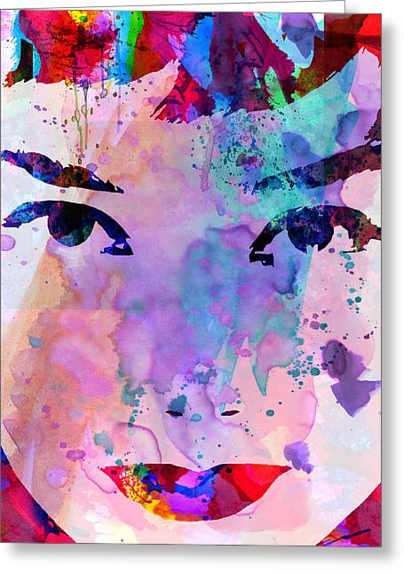 Famous Actor Paintings Greeting Cards - Audrey Watercolor Greeting Card by Naxart Studio