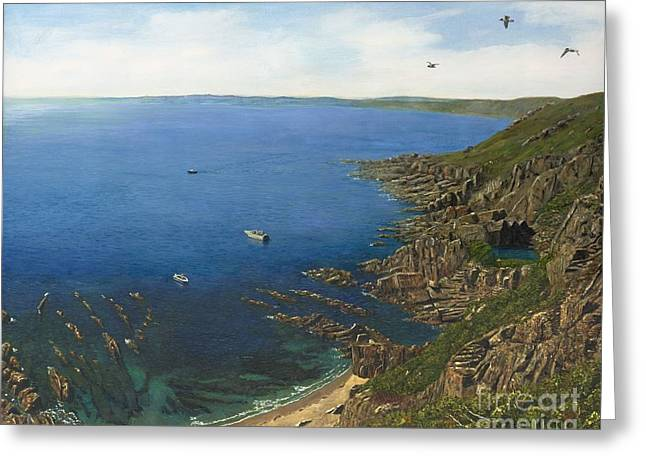 Atlantic Beaches Greeting Cards - August Afternoon  Whitsand Bay from Rame Head Cornwall Greeting Card by MGL Meiklejohn Graphics Licensing