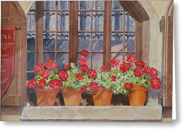 Red Geraniums Greeting Cards - August at the Auberge  Greeting Card by Mary Ellen  Mueller Legault
