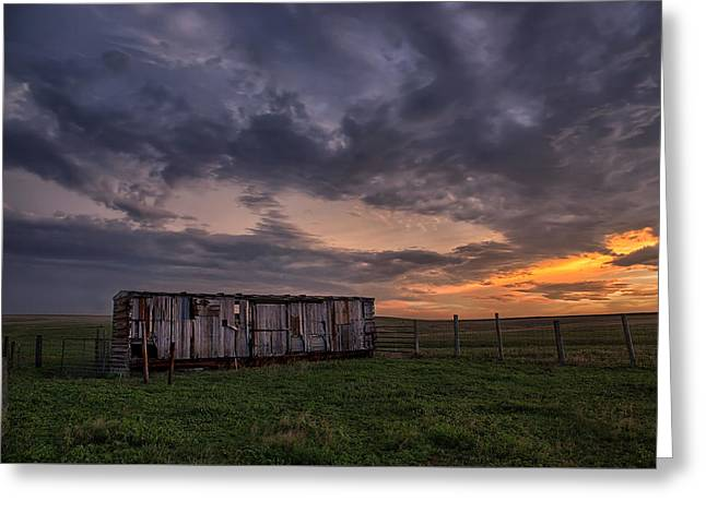 August Boxcar Greeting Card by Thomas Zimmerman